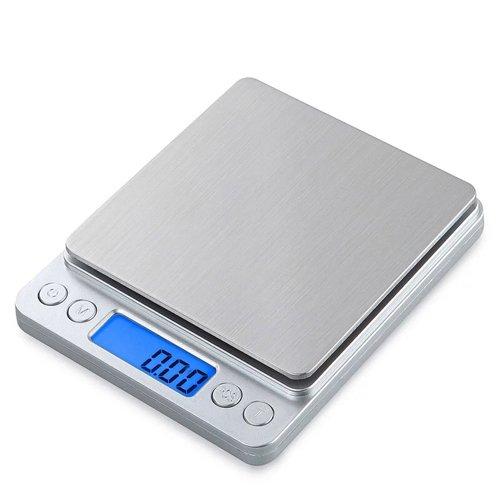 Küchenwaage, Digital Küche Waage, Elektronische Waage, Hohe Präzision auf bis zu 1g (3kg Maximalgewicht), Tara-Funktion, Edelstahl mit Großem LCD-Display (3kg Waage)