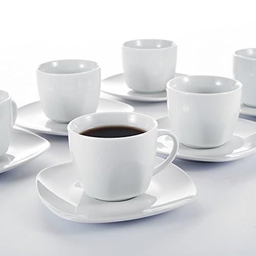 Malacasa, Serie Elisa, 24 tlg. Set Cremeweiß Porzellan Kaffeeservice Teeservice, je 12x...
