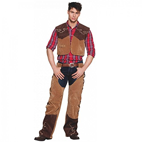 Preisvergleich Produktbild Kostüm Cowboy Bruce Gr. 50- 56 Weste mit Chaps braun Fasching Western (54/56)