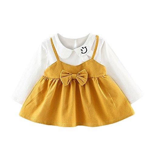 OverDose Damen 2018 Neugeborenen Baby Mädchen Cartoon Warme Prinzessin Liebhaber Print Kleid + Weste Outfits Kleidung Set(Y-Gelb,18 Monate)