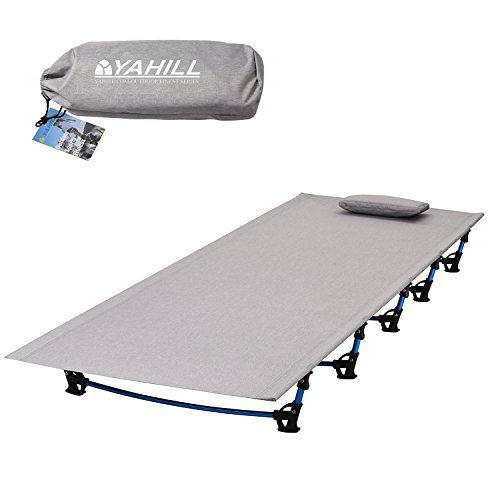 Yahill Ultralight Campingbett Feldbett (180*58*10cm or 190.5*70*17cm), Oder Zelt Bett Ersatz Aluminiumlegierung für Indoor Outdoor Camping Wandern Angeln (Extended Vision/Grey)
