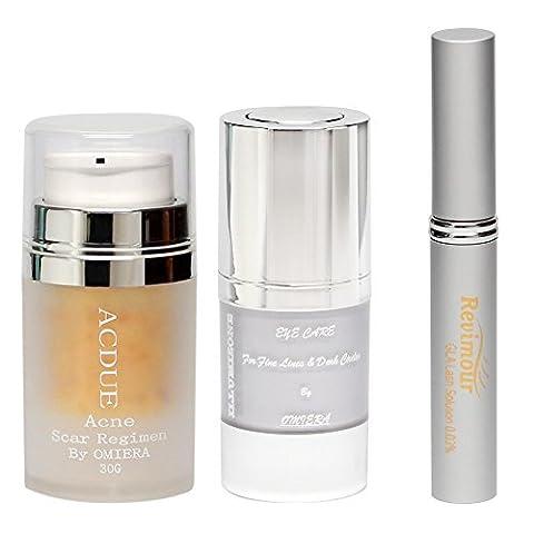 Omiera Acdue Acne Cream, Revimour Eyelash Growth Serum, and Illumizone