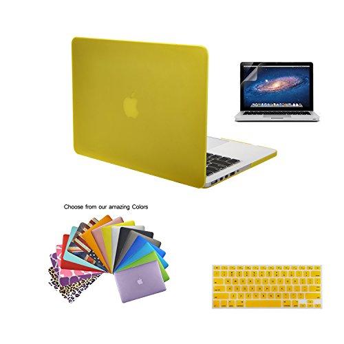 MacBook Pro 15 Retina Case Shell, TECOOL [Ultra Sottile Serie] Plastica Caso Rigida Copertina con Copertura della Tastiera e Schermo Protezione per MacBook Pro 15.4 pollici con Retina Display Modello: A1398 - Giallo
