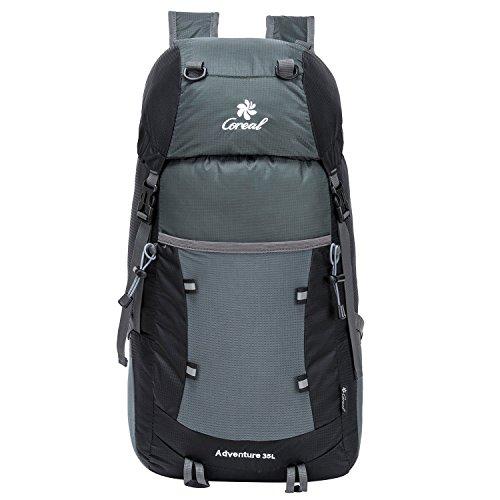 35L Tagesrucksack Faltbare Rucksack mit Wanderrucksack Fassungsvermögen aus Strapazierfähigem Nylon Daypack Unisex Schwarz