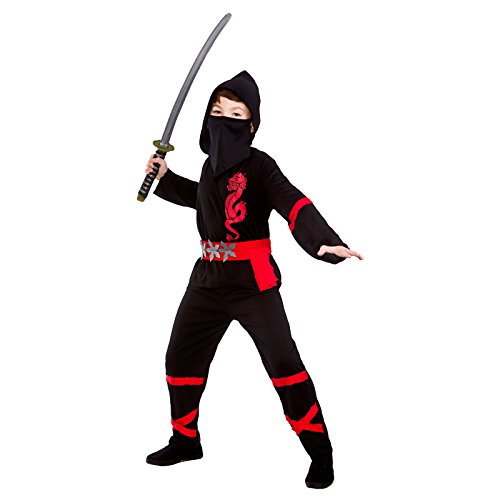 Boys Power Ninja Black Red Fancy Dress Up Party Costume Halloween Child (Ninja Boy Kostüme)