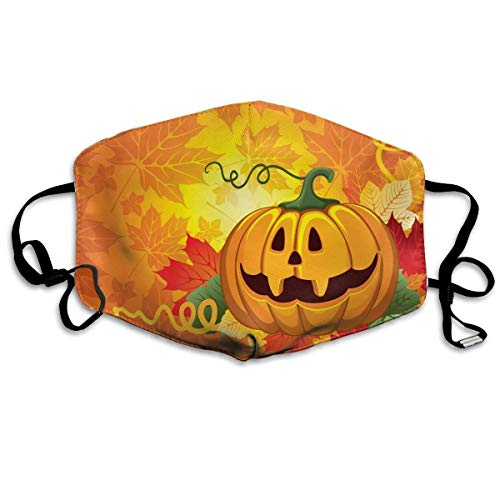 EighthStore Halloween Pumpkin Pattern Mouth Masks Unisex Anti-Dust Flu Washable Reusable Mouth Mask Fashion Design for Girls Women Boys Men Mouth-Muffle Mund Maske
