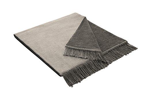 Bocasa 50 x 200 cm, Salt Pepper &Biederlack Decke/Überwurf, Baumwolle, Silberfarben