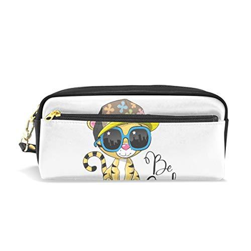 Federmäppchen aus PU-Leder im Cartoon-Design mit Sonnenbrille und Hut, Kosmetik, Make-up, Multifunktionstasche mit Reißverschluss, Büro für Kinder, Teenager, Jungen, Mädchen, Männer, Frauen
