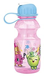 Zak Designs Tritan Water Bottle with Flip-up Spout with Shopkins Graphics, Break-resistant and BPA-free Plastic, 14 oz.,