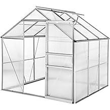 TecTake Invernadero de jardín policarbonato transparente aluminio casero plantas cultivos 5,85m³ - varios modelos
