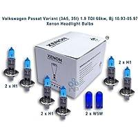 IMIP/Genius - Lampade allo xeno H1, H1, H1, W5W per fari Volkswagen Passat B4, modelli dal 1993 al 1997