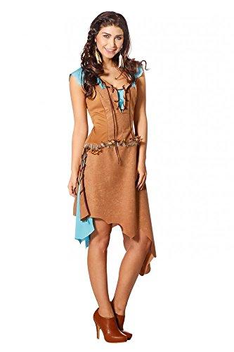 Arapaho Indianerin Damen Kostüm in Wildleder Optik Braun/Türkis Erwachsene, Größe:38