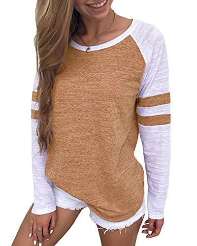 YOINS Pulli Damen Shirt Langarm Sweatshirt mit Streifen Rundhals Ausschnitt Oversize Hemd Jumper Bluse Tops Streifen-braun EU36-38