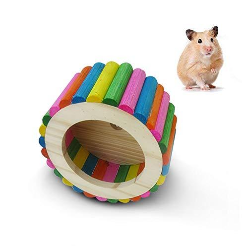Hianiquaime Bunte Leise Hamsterlaufrad Legno Flying Untertasse Haustier Übung Laufball Rad Spielen Spielzeug Käfig Supplies für Kleine Tiere Maus Guinea D