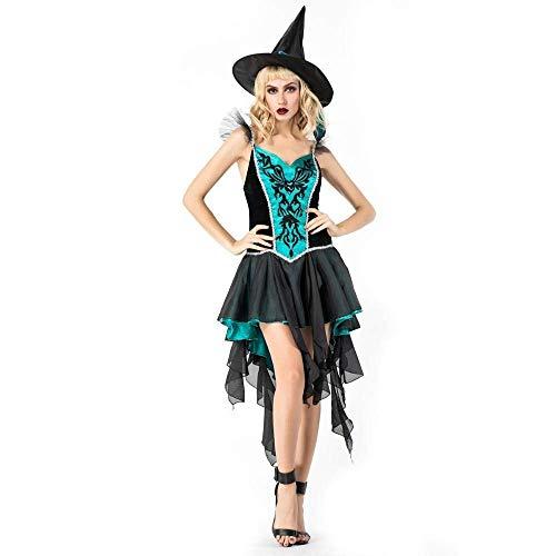 Fashion-Cos1 Weiß Halloween Erwachsene Frauen Glam Hexe Kostüm Weibliche Spitzenkleid Bös Witchy Babe Kostüme Grand Sorceress Outfits (Glam Hexe Kostüme)
