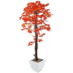 Plantá artificial Closer5Nature P088D, árbol de arce japonés rojo con maceta, de seda, de 48 cm, rosso, 5ft