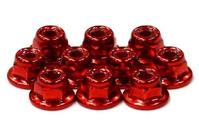 Integy RC Modélisme Hop-ups C24433RED Color Flanged Lock Nut (10) 3mm Size
