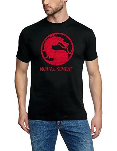 Coole-Fun-T-Shirts T-Shirt Mortal Kombat Logo Dragon, schwarz, M, FT66 (Mortal Kombat Dragon)