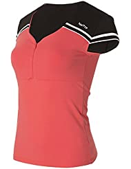 Naffta Active - Camiseta de manga corta para mujer, color coral medio / negro, talla M