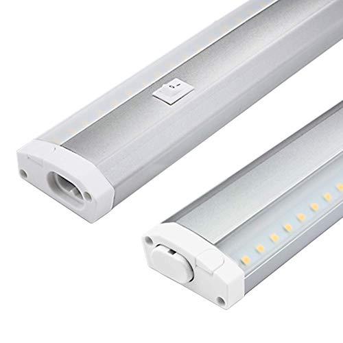 Trango TG2532 LED Unterbauleuchte Küche Lichtleiste 600mm lang 11W 230V titan/weiß inklusive ON/OFF Schalter 3000K warmweiß erweiterbar