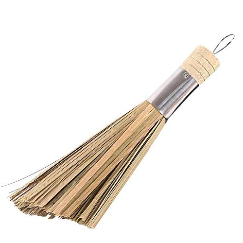 SULUO Whisk Traditional Natural Bamboo Non-Stick Oil Iron Pot Pan Cleaning Brushes Wash Dishware Kitchen Utensil,B Bamboo Rolling Pin