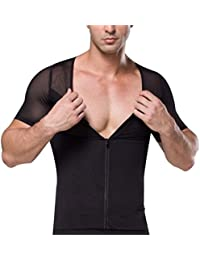Zhhlinyuan suave Mens V-neck Slimming Compression Shirt T-shirt Corset Sportswear Underwears With Zipper