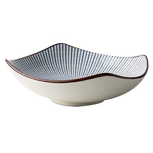 Bol élégant Style japonais mille paragraphes herbe plats en céramique bol de soupe créative assiette de nouilles sushi assiette rétro couverts ensemble à la maison (couleur: d) (Couleur : A)