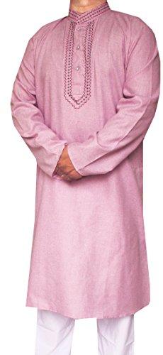 Baumwolle Bestickt Herren Kurta Pyjama Indien Kleidung (Lila, XL) -