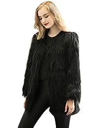 Tongshi Nuevas mujeres de las señoras caliente de piel sintética de Fox chaqueta de la capa del invierno Parka Prendas de abrigo