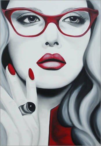 Acrylglasbild 90 x 130 cm: Liz mit den roten Lippen von Anja Verbruggen - Wandbild, Acryl Glasbild, Druck auf Acryl Glas Bild