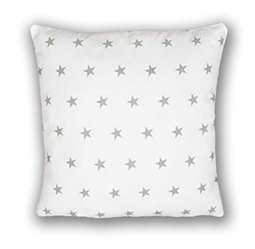 Amilian® Dekokissen Kissenbezug Kissen 80cm x 80cm Sternchen weiß (A3)