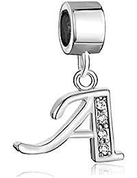 Colgantes de letras del alfabeto. Letras iniciales de la A a la Z. Pulseras piedra Dangle Clear Pandora Charms