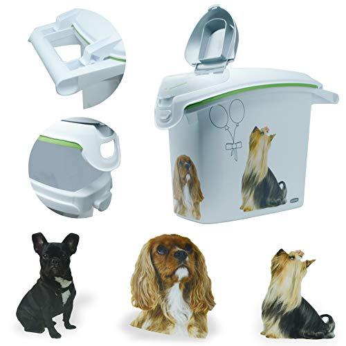 DRULINE Futtertonne aus Kunststoff Hund - 24 x 35 x 50 cm - 15 Liter - Weiß