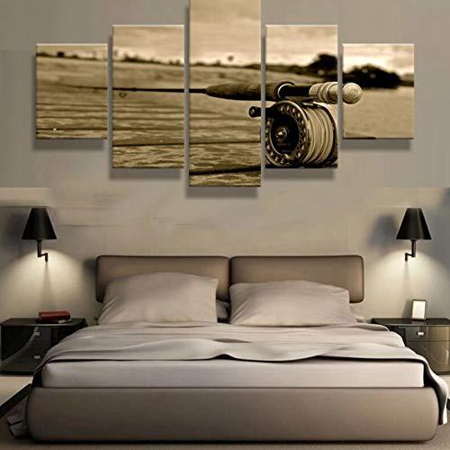 FEIF HD Decoración del Hogar Moderno Lienzo Sala De Estar 5 Panel Caña De Pescar Impreso Fotos Pintura Wall Art Modular Poster Marco