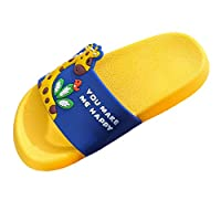TEELONG Cute Cartoon Giraffe Flat Shoes Summer Casual House Non-Slip Pool Slippers Beach Bathroom Slides Girls Ladies Comfortable Shoes (Yellow,3.5 UK)