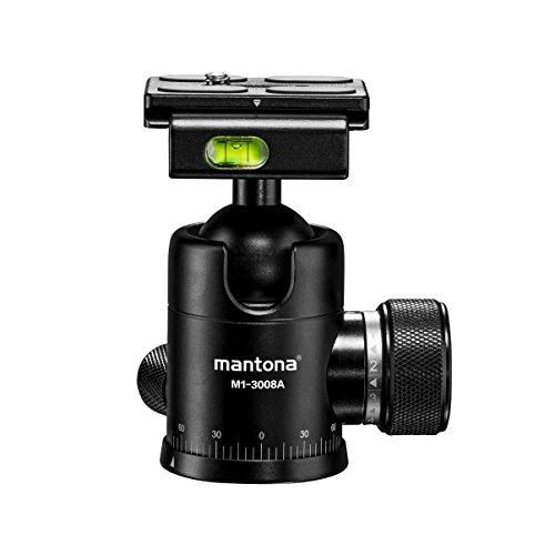 Mantona Onyx 8 Kugelkopf (M1-3008A) Arca-Swiss kompatible Schnellwechselplatte 50 mm, professionelle Verarbeitung für DSLR, spiegellose Kamera, Systemkamera, Digitalkamera, Camcorder schwarz