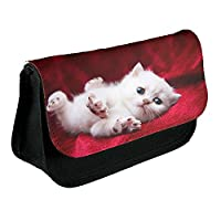 Cats 10059, White Cat, Black School Kids Sublimation High Quality Polyester Pencil Case Pencil-box with Colourful Printed Design. 21x13 cm.