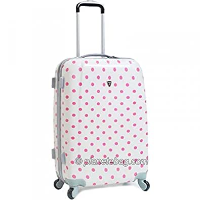 Bagages-madisson - Valise cabine a pois 4 roues rigide 50cm - Blanc