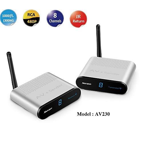 Measy AV230 2,4 GHz Wireless AV Sender Transmitter Empfänger (RCA) bis zu 300 M/1000 Füße mit IR-Rückkopplungsfunktion Wireless-av-sender