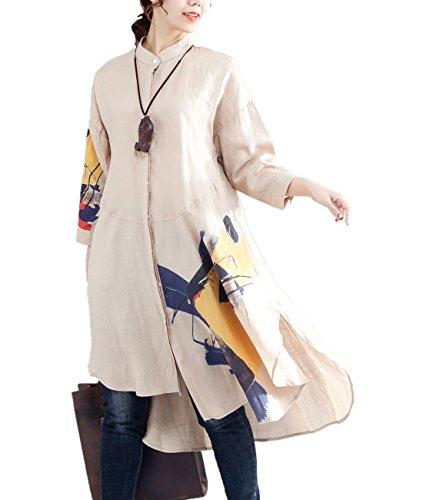 Yesno Damen Bluse Gr. One size, Khaki Long Type (Dolman Sleeve Top Printed)