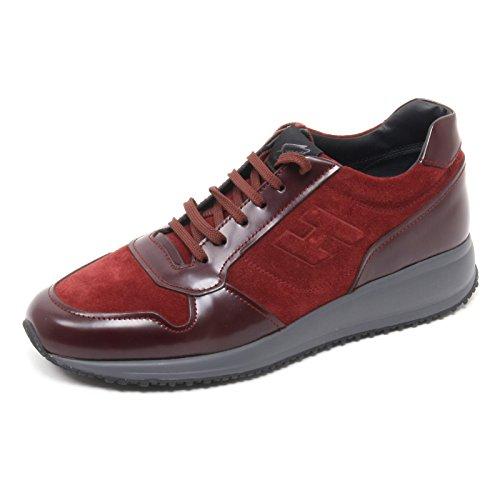 B6074 sneaker uomo HOGAN INTERACTIVE scarpa rosso/bordeaux H rilievo shoe man rosso scuro/bordeaux