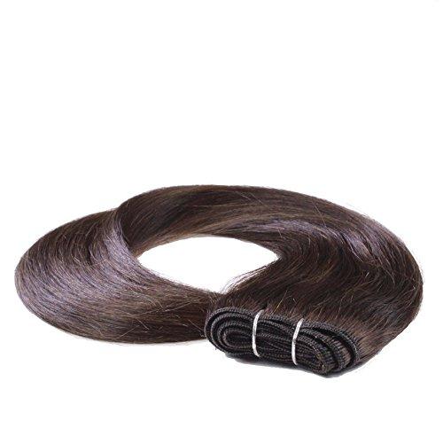 Echthaar-Tresse, 70cm - glatt - #2 Dunkelbraun - Haarverlängerung, Extensions für Weaving oder Microring - 100 Nähen Echthaar Extensions