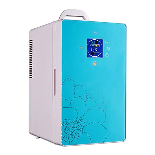 L&K Réfrigérateur De Voiture Mini Refroidisseur Électrique Plus Chaud L'Affichage 220V (C.A.) 12V (CC) 16L Le Bureau À La Maison Le Réfrigérateur Compact De Voiture, Blue
