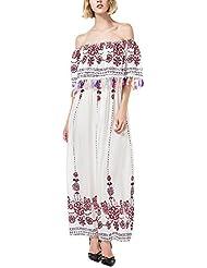Mena Uk Verano de las mujeres de hombro de impresión floral maxi vestido con borlas ( Color : Blanco , Tamaño : M )