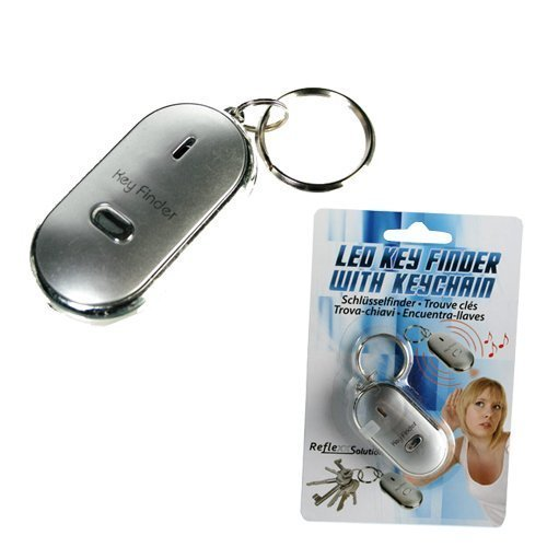 METAL KEY FINDER WHISTLE KEYRING FLASHING LED LIGHT LOUD BEEPING LOCATOR TORCH by BARGAINS-GALORE (Locator Led)