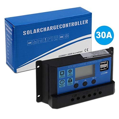 Leoboone PWM Solar Panel Regulator 30A 12V-24V Auto Dual USB Digital Display Solar Charge Controller for Lead Acid Batteries 30a Digital Charge Controller