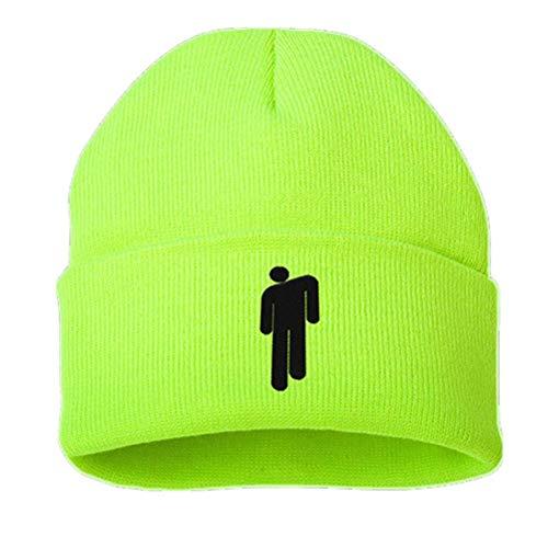 Billie Eilish Gorro de algodón Casual para Hombres, Mujeres, Gorro de Invierno de Punto, Gorro de Hip Hop sólido, Gorro Unisex para Deportes de Invierno (Verde Fluorescente, 55-60 cm)