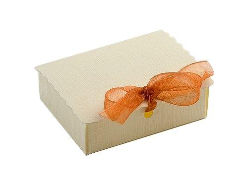 10 Stück Kartonage SCATOLA C/PATELLA Seta elfenbein, 70x55x22xmm, Gastgeschenk Geschenkverpackung Hochzeit Weihnachten Taufe