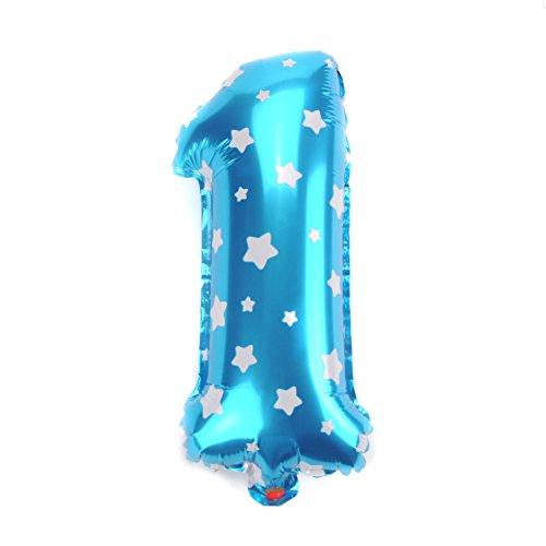 40,6cm Folienballon Zahl 0-9Weihnachten Deko Ballon Kinder Geburtstag Party Dekoration Supplies blue number 1 Wie abgebildet