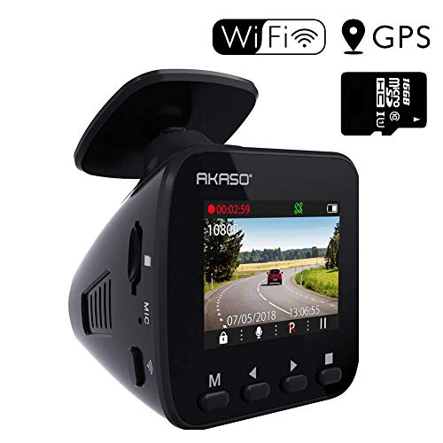 AKASO V1 Dash Cam Car Recorder with 1.5-inch Screen,Sony Sensor, 1296P FHD, GPS, WiFi with APP, Night Vision, Loop Record, Parking Monitor, 170 Wide Angle and 16GB Card